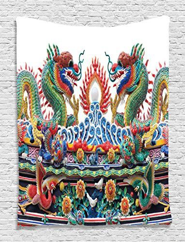 Asian Tapestry Chinese Dragons Decor by Ambesonne, Colorful Eastern Asian Theme Culture Flame Flowers Tapestry Wall Hanging Decoration Artprint Living Room Bedroom Dorm Outdoor, Red Yellow Green Blue