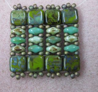 No tute, but examples of many bracelets using two holed beads.  Can you see the patterns?   #Seed #Bead #Tutorial