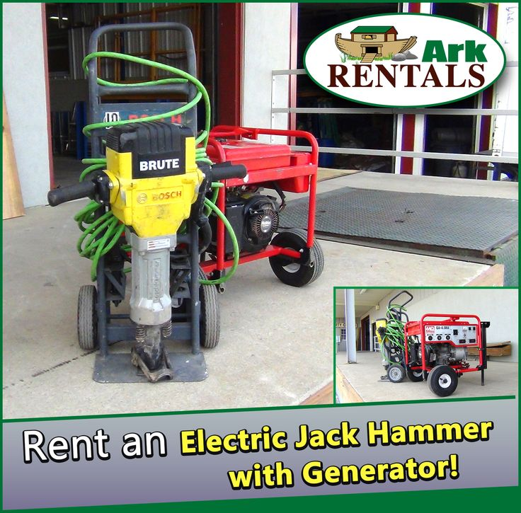 Break apart that old concrete! Rent an Electric Jack Hammer with Generator from Ark Rentals!  #ElectricJackHammer #JackHammer #Generator #RentEquipment #ArkRentals