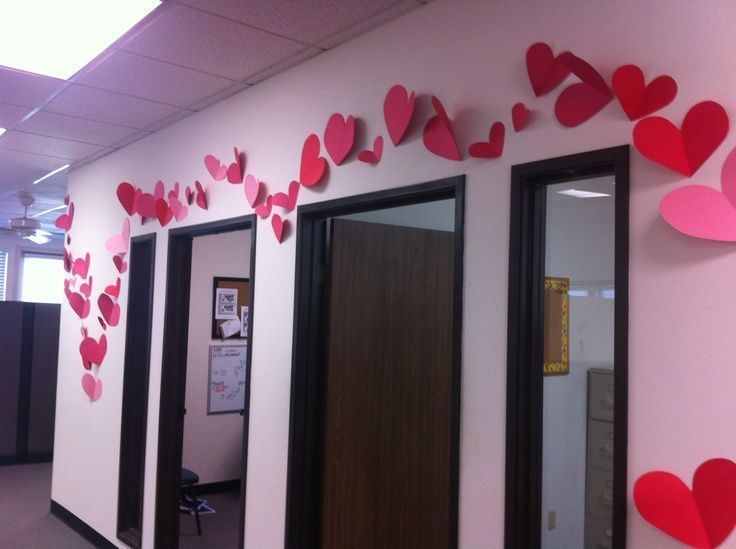 Valentines Hearts Flowing Thru The Office Flowing Hearts Office Valentines Valentines Day Office Diy Valentine S Day Decorations Valentines School