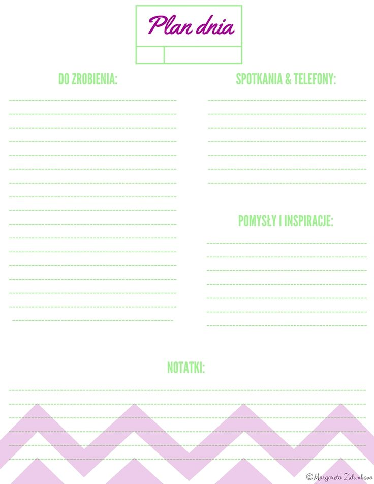 Planer dzienny, planner, to do, do wydruku, free, printable, freebe