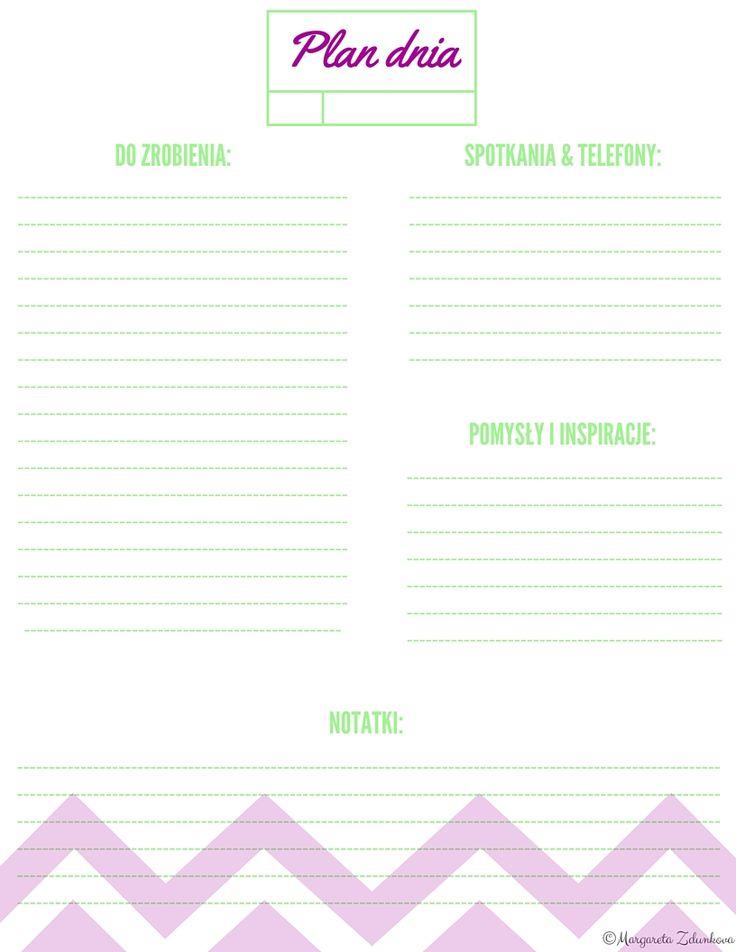 Planer dzienny, planner, to do, do wydruku, free, printable, freebe