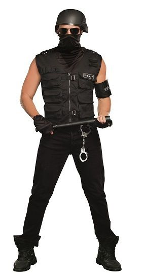 Mens Special Ops SWAT Costume - Take the bad guys out in the field with this Special Ops SWAT costume. It includes a heavy duty vest, It comes with a dickie face mask and matching arm band with patch. Head out this Halloween with a cop and have fun with this Special Ops costume. Perfect for cops and robbers themed parties. #YYC #Calgary #costume #SWAT #Cops