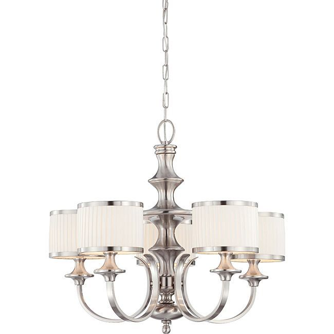 Candice nickel and flat pleated white shades 5 light chandelier