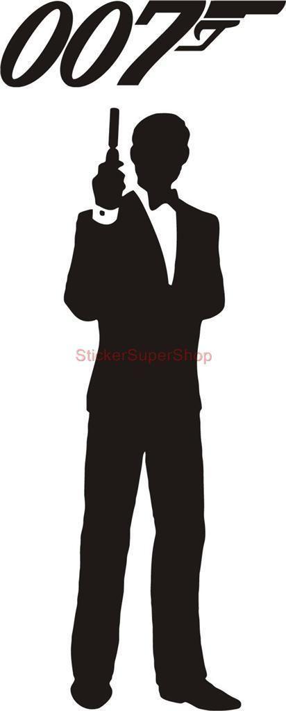 HUGE JAMES BOND 007 silhouette Decal Removable DOOR WALL STICKER Home Decor Art   eBay