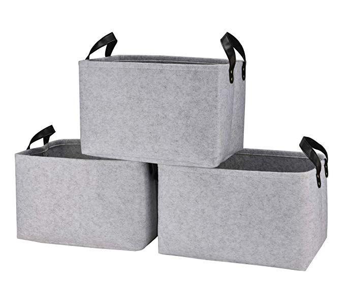 3 Pack Storage Cube Basket Bins in Grey White Black Rectangular collapsible