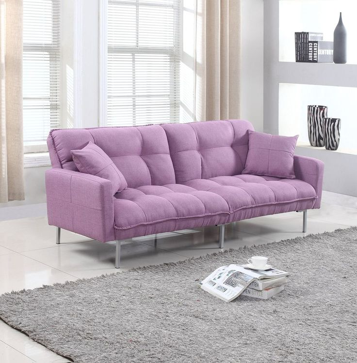 Plush Tufted Couch Linen Fabric Splitback Living Room Sleeper Futon Living Room #MyHomeCollection #Splitback