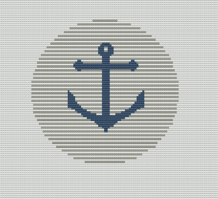Easy Anchor Cross Stitch Pattern PDF Pillow Cover. $4.00, via Etsy.