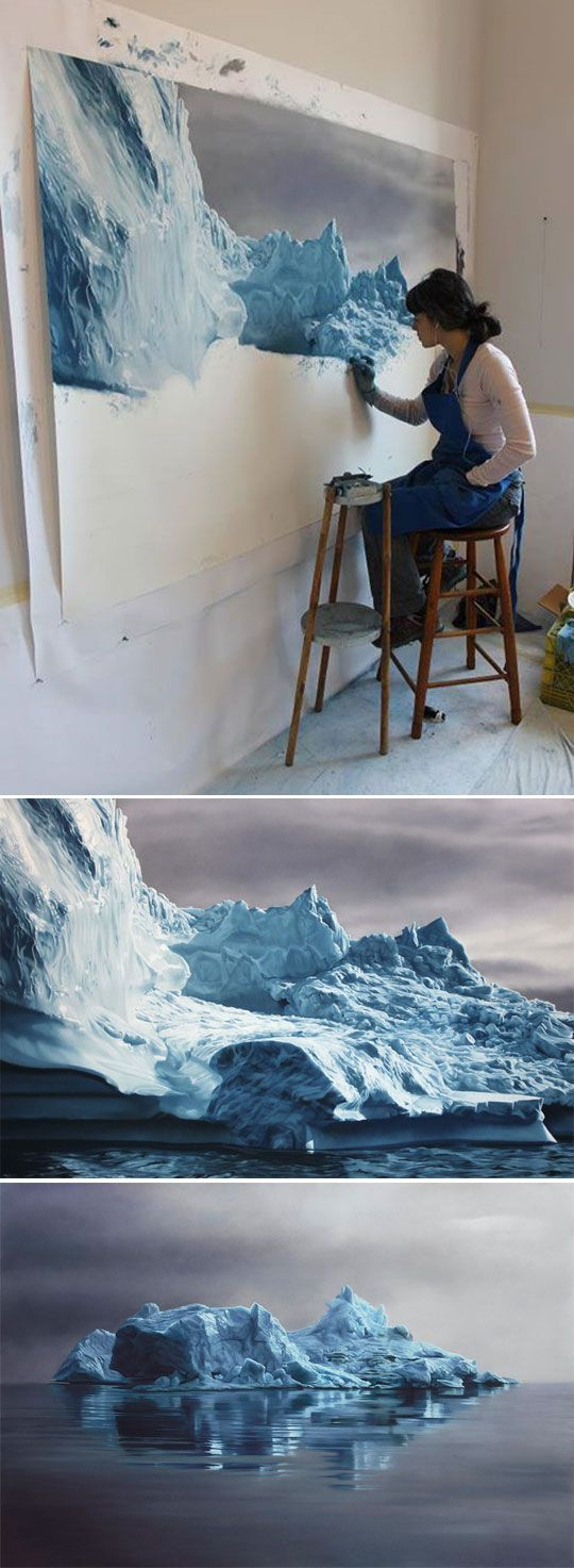 Hyper realistic painting, large scale but inclusive of small details. Time consuming but very effective both from close up and a distance. Would definitely want to attempt a painting of this scale.