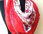 Red Scarf Valentine's day  Gift For Her Cotton Scarf Floral Ethnic Turkish Scarf Mother's Day Gift For Her Europeanstreetteam Craftoriteam