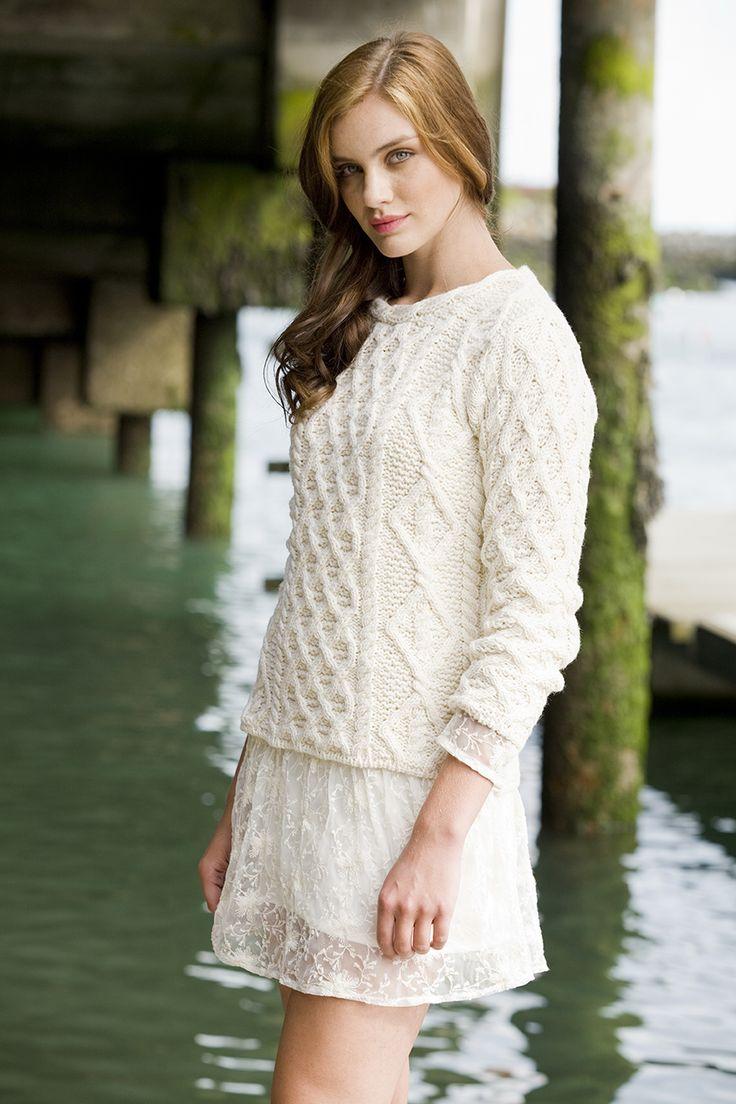 Ladies Lattice Cable Lambay Aran Sweater in Natural