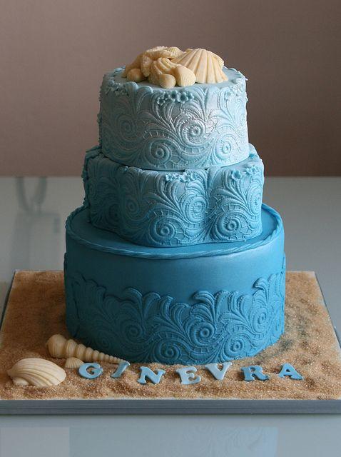 deniz temalı doğumgünü pastası