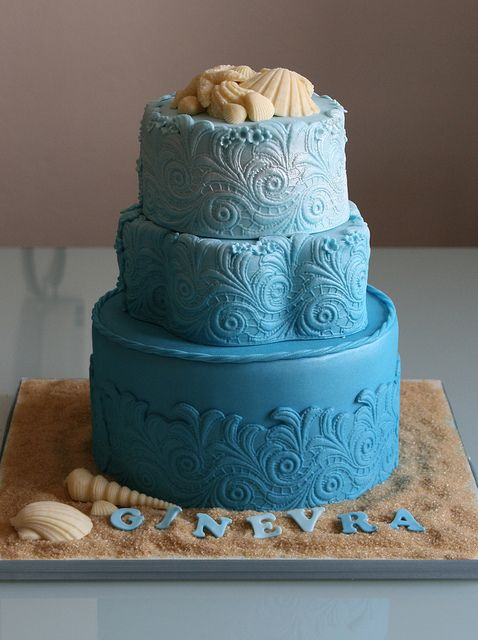 Beach themed birthday cake. Bottom tier: dark cocolate, middle tier: coconut, top tier: white chocolate mud.