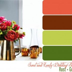 Rust, rose, green, and cream :): Color Schemes, Color Ideas, Color Pallets, Color Swatch, Green Palettes, Rust And Green Wedding Color, Bedrooms Color, Wedding Color Palettes, Fall Color