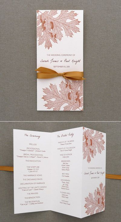 Downloadandprint.com / DIY print it your self wedding stationary / Tri-Fold Fall leaves ceremony program.