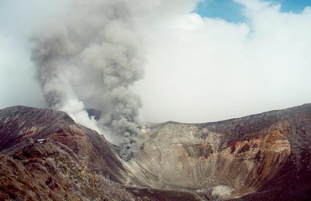 Cost Rica's Turrialba Volcano emits massive ash and gas trail