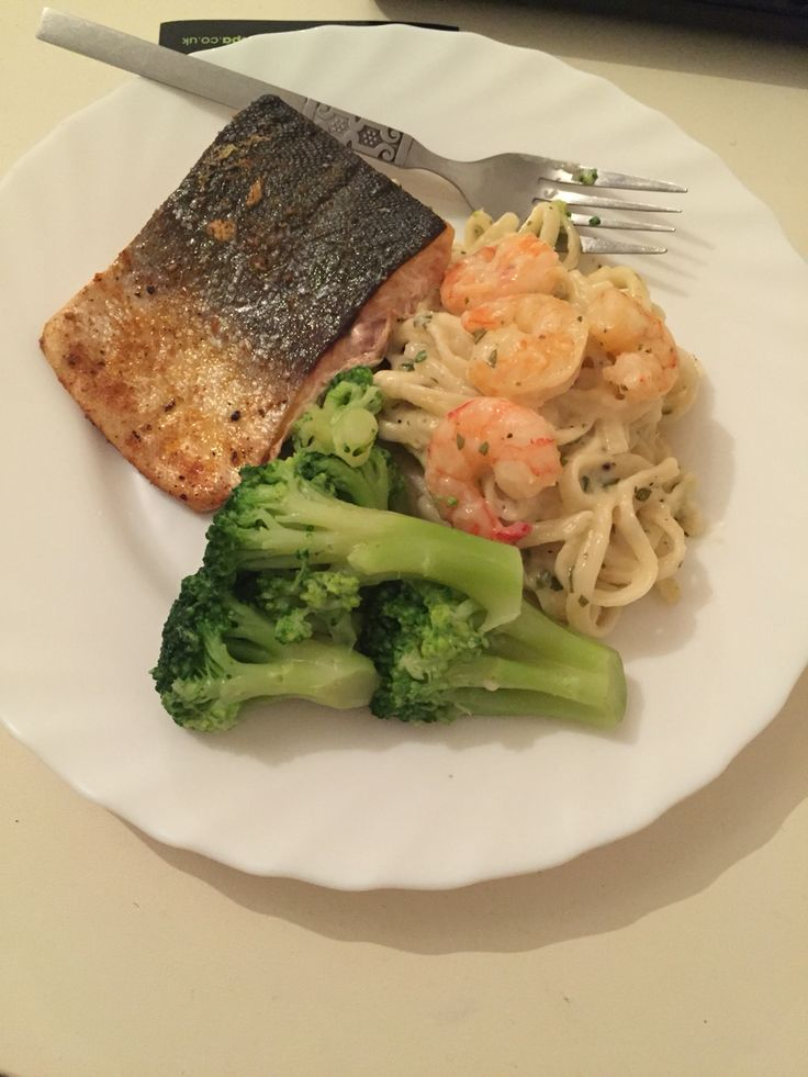 Grilled Herb Salmon  Shrimp Linguini Alfredo  With Steamed Brocolli