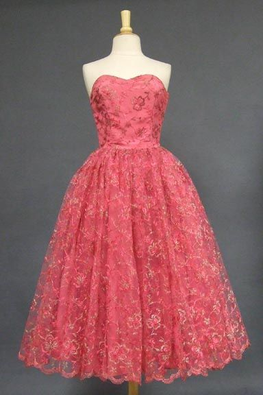 Cerise Tulle 1950's Prom Dress w/ Pink & Gold Embroidery