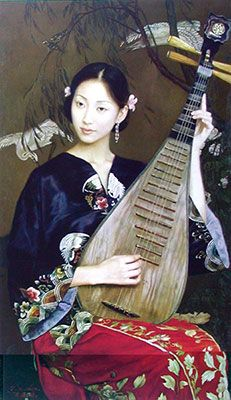 Want this fascinating handmade beautiful Chinese woman oil painting on Canvas. view more info