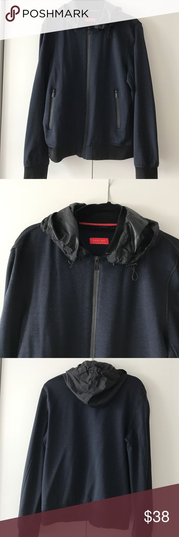 Zara Men's Zip Up Hoodie Size 40 Blue/black blue zip up hoodie with 2 front pockets removable hood Size L Zara Sweaters Zip Up