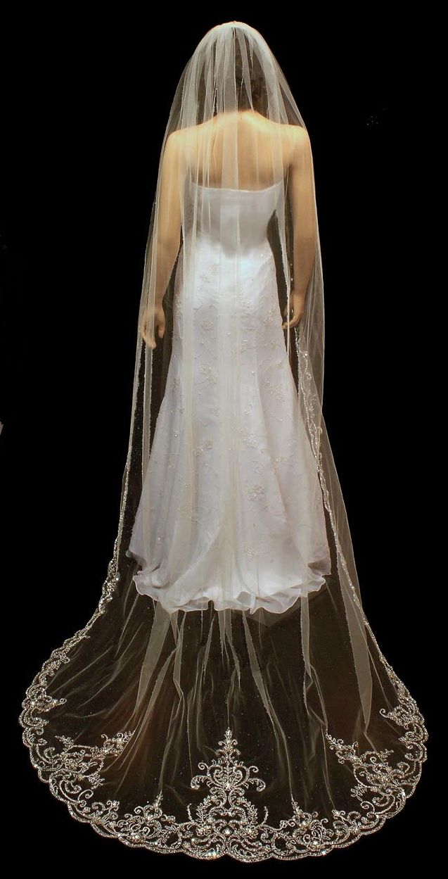 Stunning Beaded Embroidery Cathedral Wedding Veil VR3030--Affordable Elegance Bridal -