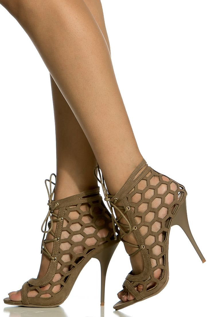 Taupe Faux Suede Cut Out Lace Up Single Sole Heels @ Cicihot Heel Shoes online store sales:Stiletto Heel Shoes,High Heel Pumps,Womens High Heel Shoes,Prom Shoes,Summer Shoes,Spring Shoes,Spool Heel,Womens Dress Shoes