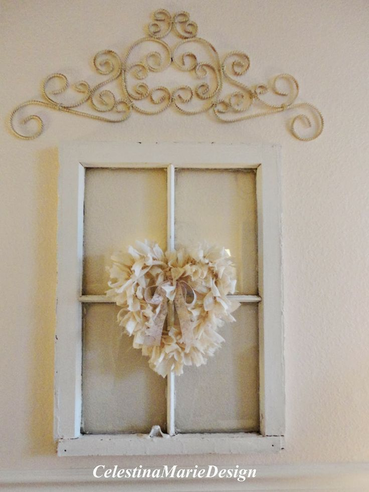 Celestina Marie Design: Rag Trim Lampshades and a Heart Wreath~Tutorial