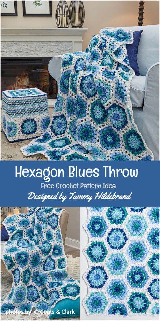 Hexagon Blues Throw Free Crochet Pattern Idea 1001 Crochet Ideas