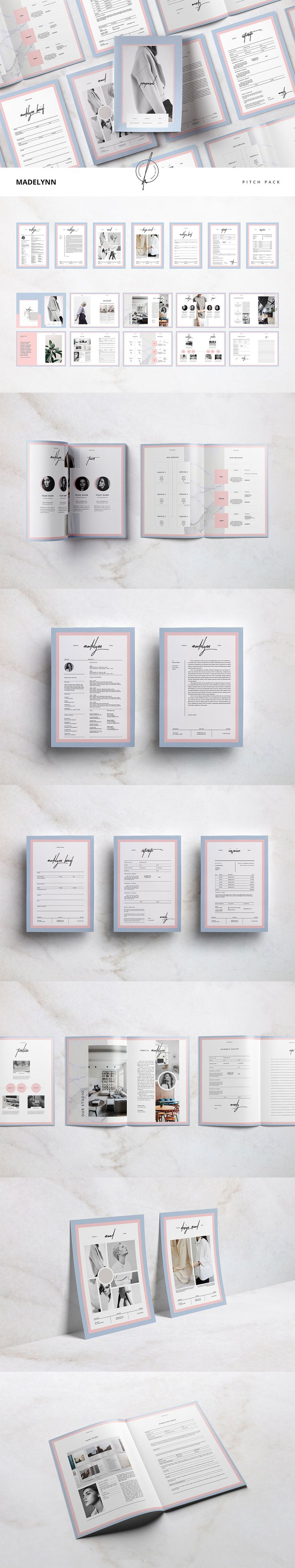 """Download #FREE """"Madelynn Pitch Pack"""" includes #proposal and other #templates made with #Adobe #InDesign to simplify your #business with clients. This pitch pack collection has 8 templates with the same clean and minimal layout theme. A #design of 20 page proposal template and 7 other trinkets comes in two sizes, standard size A4 and US letter size for variations and ready to #print.( #freebies #feminine #typography #brochure #c#coverletter #creative )"""