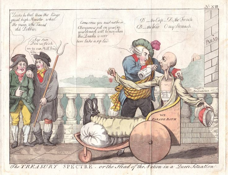 "Isaac Cruikshank, ""The Treasury Spectre."" Hand-colored engraving 1798.  Re. stomach complaints, bath chair invalidsm, as politicised metaphors for state of treasury/economy.nation"