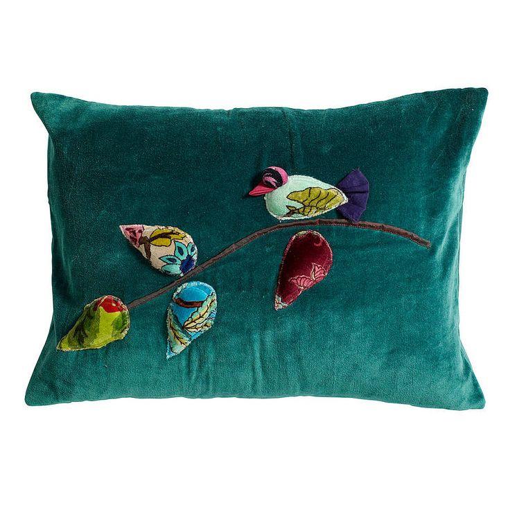 Bird Applique Cushion In Petrol Blue A Sumptuous Petroleum