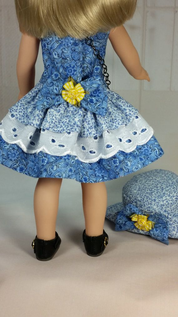Wellie Wisher Blue Party Dress Hat and by DollClothesbyShirley