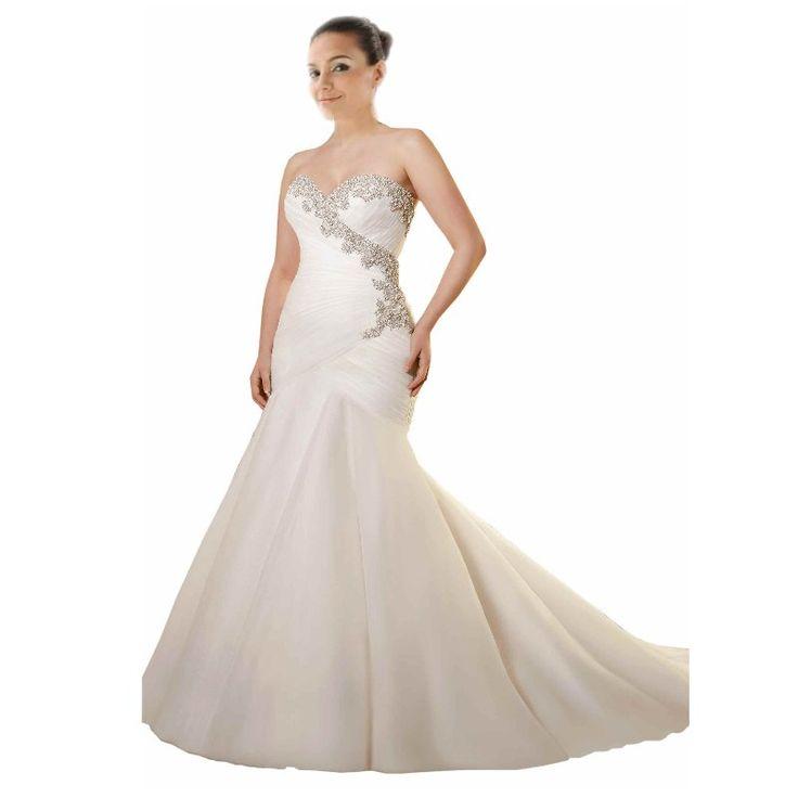 Stunning Designer Wedding Dress Plus size 2017 Cheap Trumpet Organza With Bling Rhinestone Beaded Robe De Mariage Court Train
