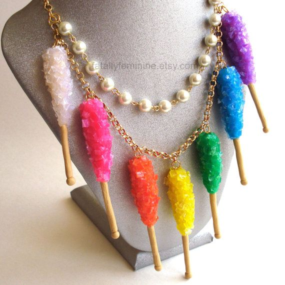 Kawaii Statement Necklace Rock Candy Necklace Rainbow Candy Charm Necklace Couture Pin Up Jewelry Miniature Food Jewelry