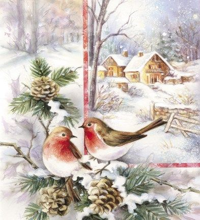 Bird Couple On Acorns In Snow