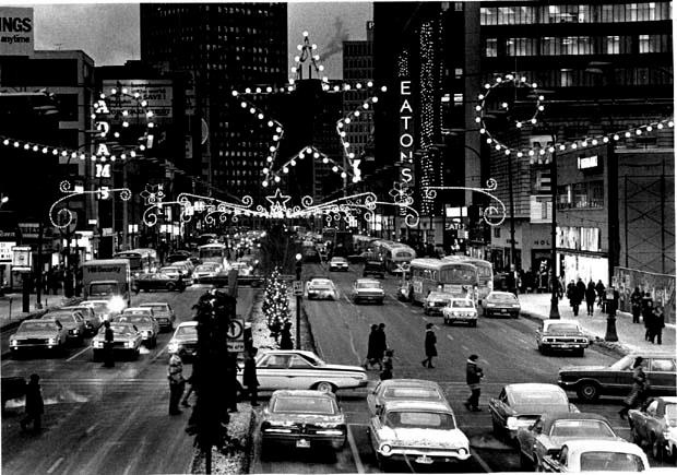 Winnipeg downtown at Christmas in the 70's