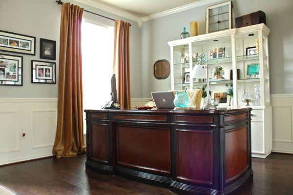 Beautiful pale blue office...gold velvet curtains & cherry desk.