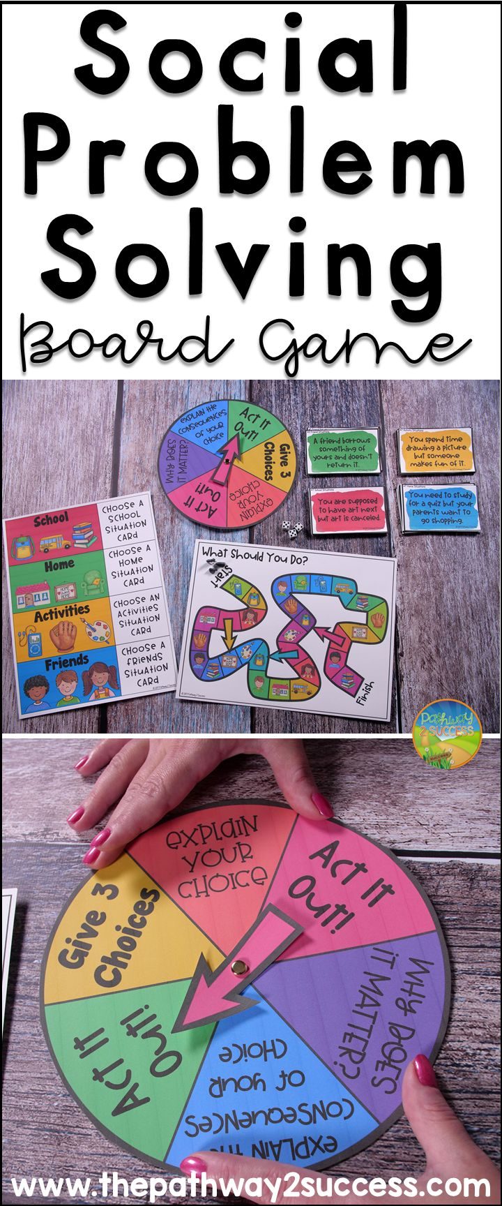 Social problem solving board game that teaches social skills and problem solving skills related to real life scenarios!