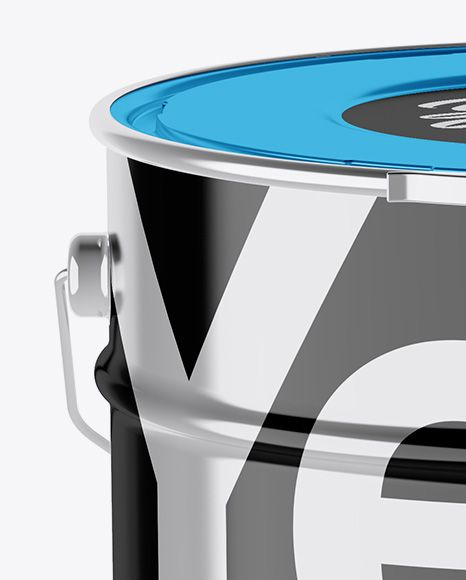 Metallic Paint Bucket Mockup - High-Angle Shot
