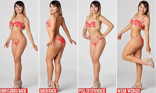 Pose like a bikini model to show off your best side on the beach