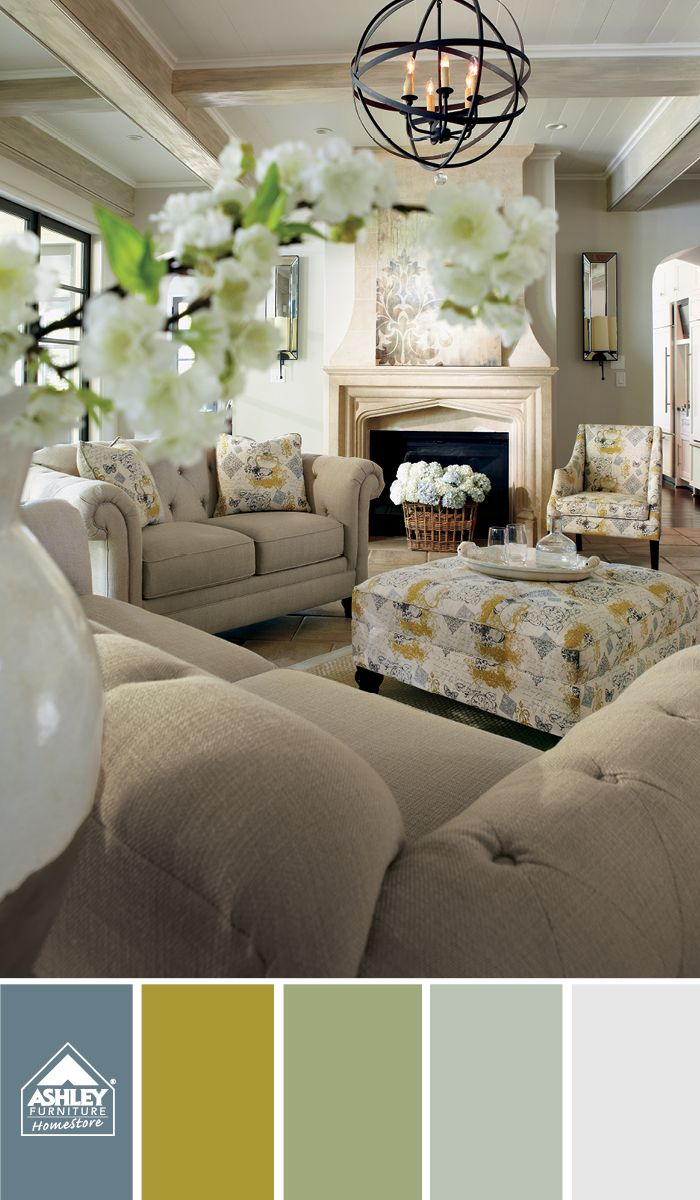 A pretty and vintage palette!: Living Rooms, Decor Ideas, Ashley Design, Colors Rooms, Pillows Ottomans, Fresh Flowers, Spring Forward, Furniture Ideas, Ashley Furniture