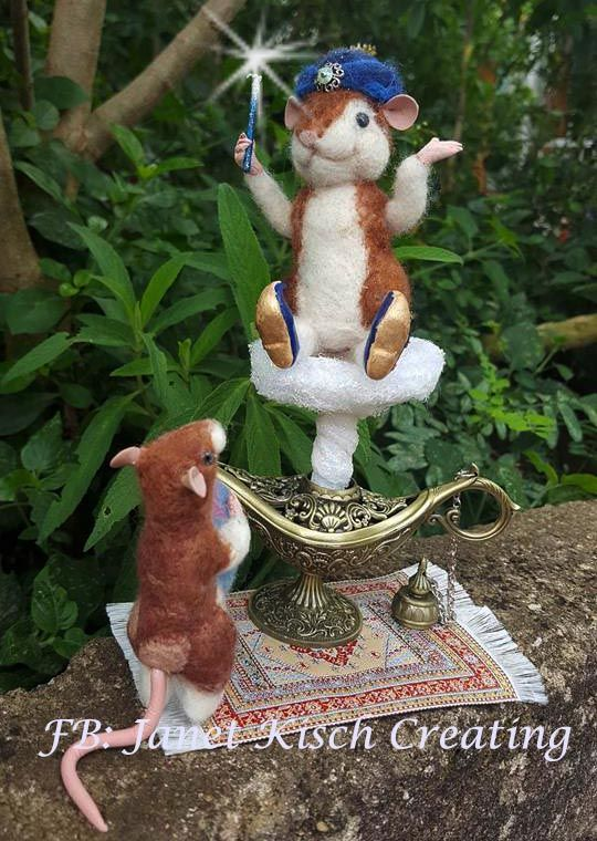 Needle felted Hamster Genie and little mouse mommy By Janet Kisch https://www.facebook.com/janetkischcreating/