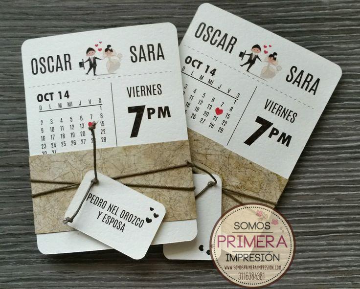 Tarjetas de Invitación para Boda modernas.  Diseño Calendario.