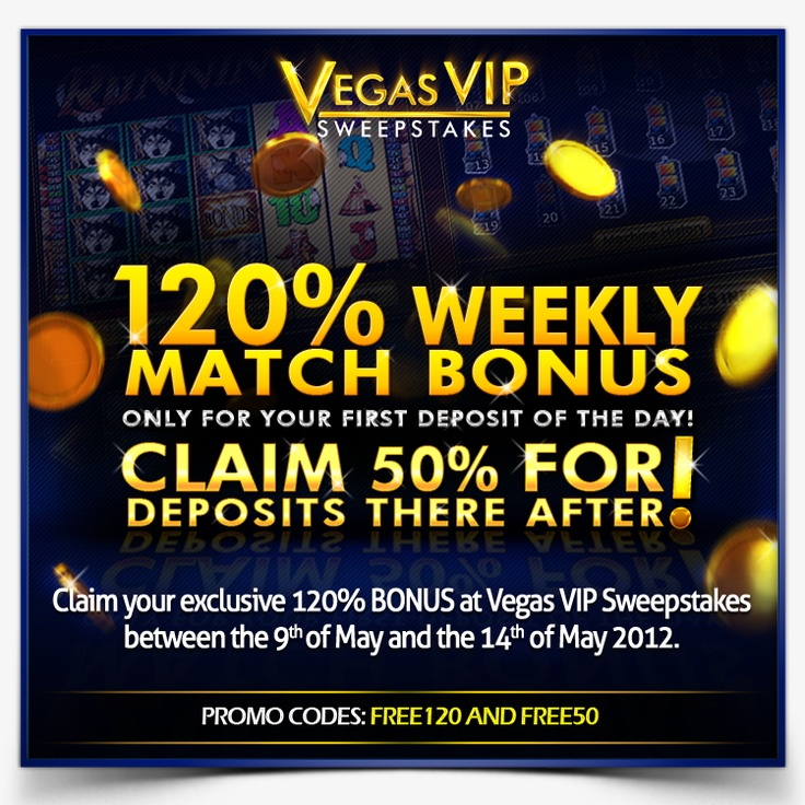 120% Match Bonus! For your first deposit of the day!  Terms and conditions: http://www.vegasvipsweepstakes.com/terms/Strategy.html  http://www.vegasvipsweepstakes.com/  #promotion #promo #weekly #bonus #casino #slots #games #online #fun #entertainment #deposit #vegas