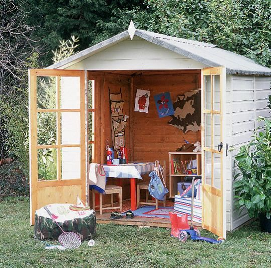 Garden shed converted into an outdoor playroom. So smart! {from ohhdeedoh.com} #garden #kids #toddlers #baby #daycare #preschool #shed #imagination #pretend