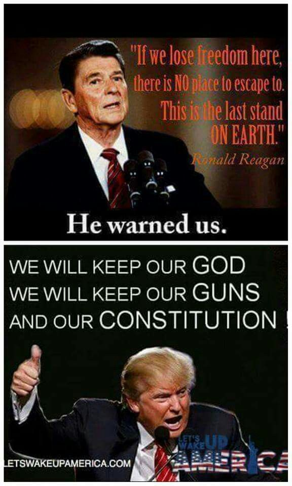 """RONALD & DONALD - POTUS #Ronald Reagan's quote on national security: """"A NATION THAT CANNOT CONTROL ITS BORDERS IS NOT A NATION"""""""