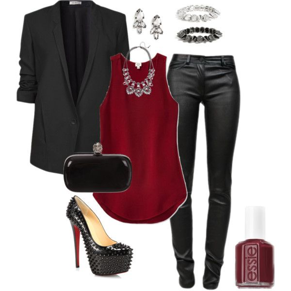 blazer, merlot top and leather - can't wear shoes like that anymore but the rest of tis is cute.