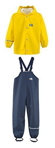 Rukka wasserdichte Regenbekleidung f�r Kinder Set gelbe Regenjacke und marineblaue Latzhose 116 cm / 6 Jahr