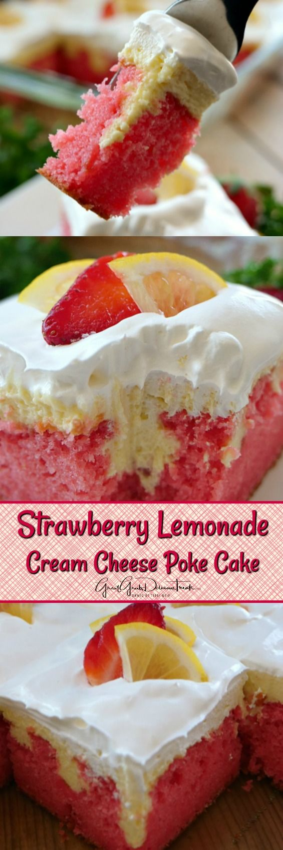 Strawberry Lemonade Cream Cheese Poke Cake ~ Super delicious and perfect on a hot summer day.