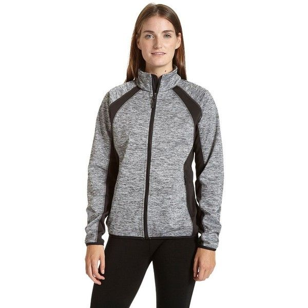 Women's Champion Softshell Jacket ($82) ❤ liked on Polyvore featuring activewear, activewear jackets, grey, champion sportswear and champion activewear